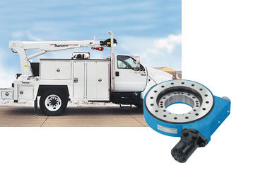 Light cranes - the standard equipment of service trucks, using Slew Drive.