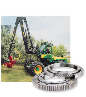 Harvesters use our Ball Slewing Rings and Slew Drives for the axle swing arm, the crane boom, the harvester head (with a chain saw) and a rotatable cab.