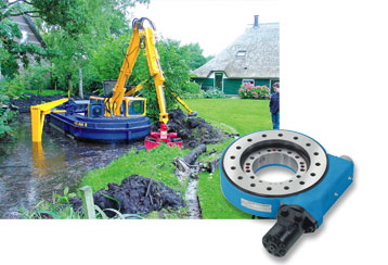 This work boat which is used in Dutch canals is fitted with a Slew Drive to move the boom of the excavator.
