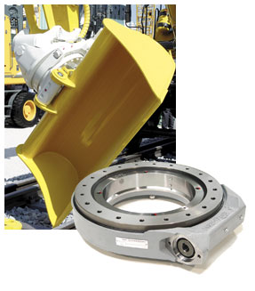 This kind of Slew Drive installed in a rotation and tilting device of an excavator shovel bucket.