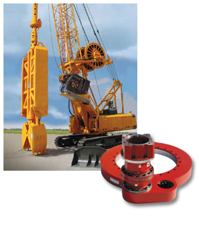 Slew Drive of this series in a special design for a foundation grab of a heavy construction machine.