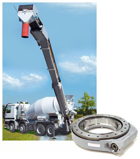 Cement mixer equipped with a conveyor belt with a length of 16.5 m, which is rotated with two Slew Drives; the considerable length of the belt leads to high tilting moments. Therefore a double row design with a reinforced housing is used.